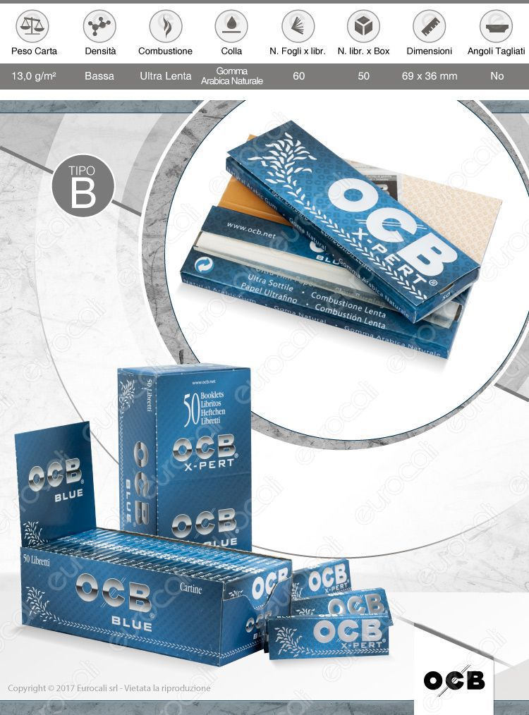 Cartine OCB X-Pert Blu Corte