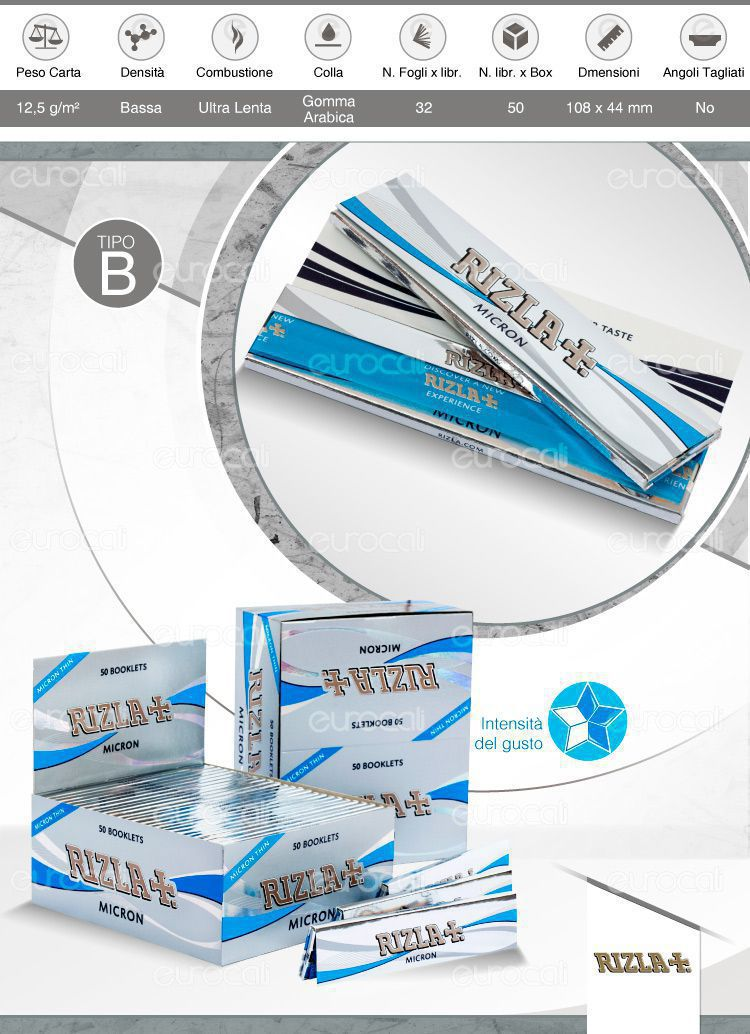Cartine Rizla Blu lunghe Slim Size