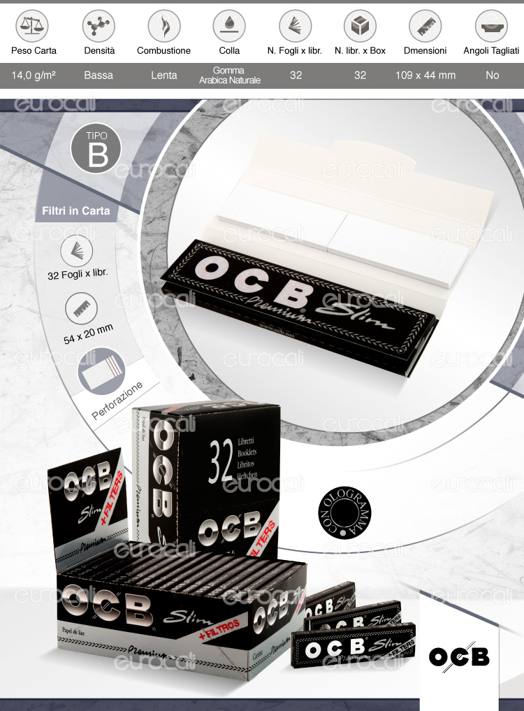 Cartine OCB lunghe slim e filtri in carta