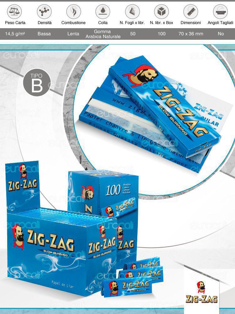 Cartine Zig Zag Blu Corte
