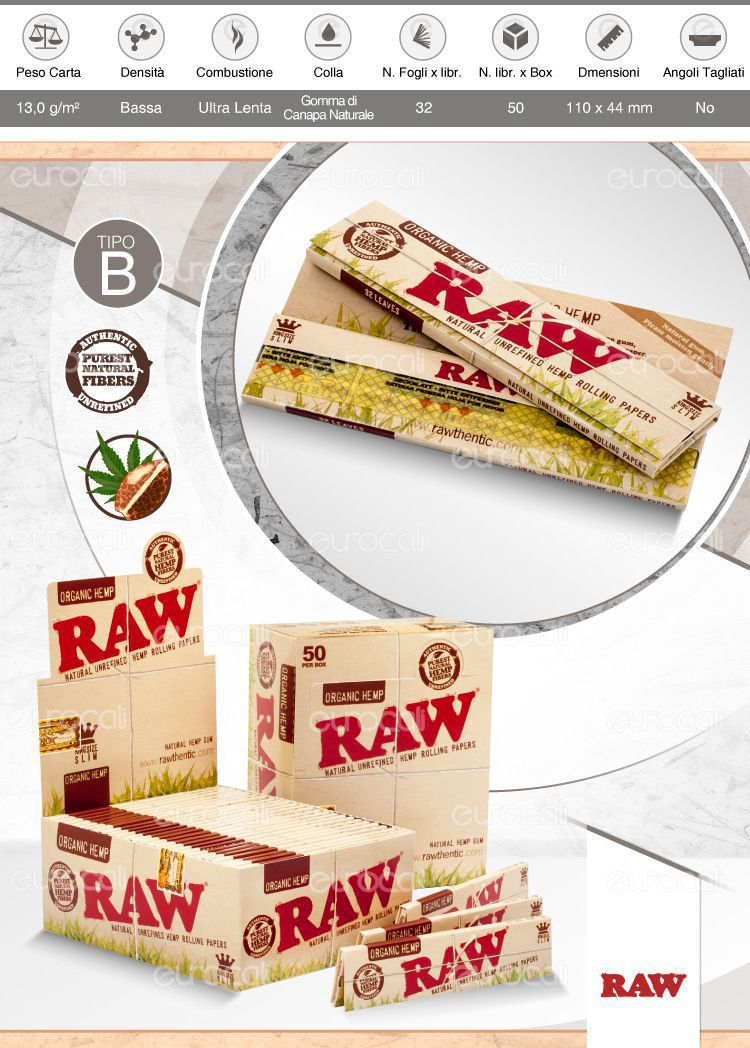 Cartine Raw Organic Hemp King Size Slim Lunghe