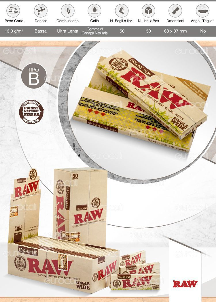 Cartine Raw Organic Hemp Corte