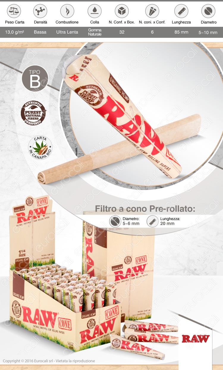 Raw cono organic hemp prerollato con filtro