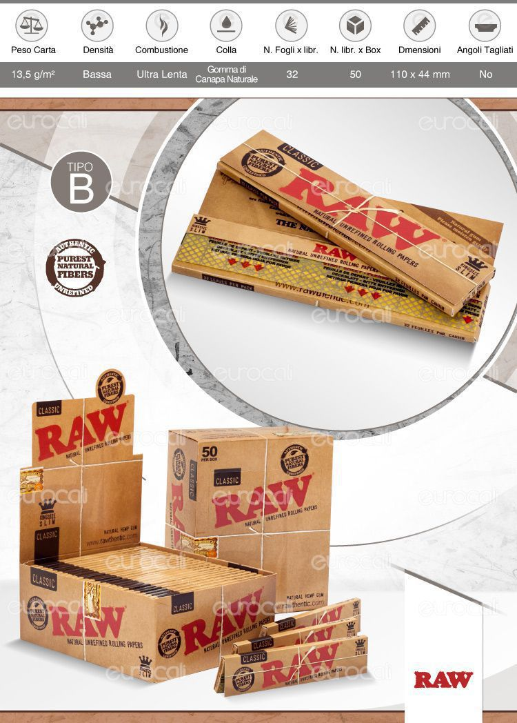 Cartine Raw Classic King Size Slim Lunghe