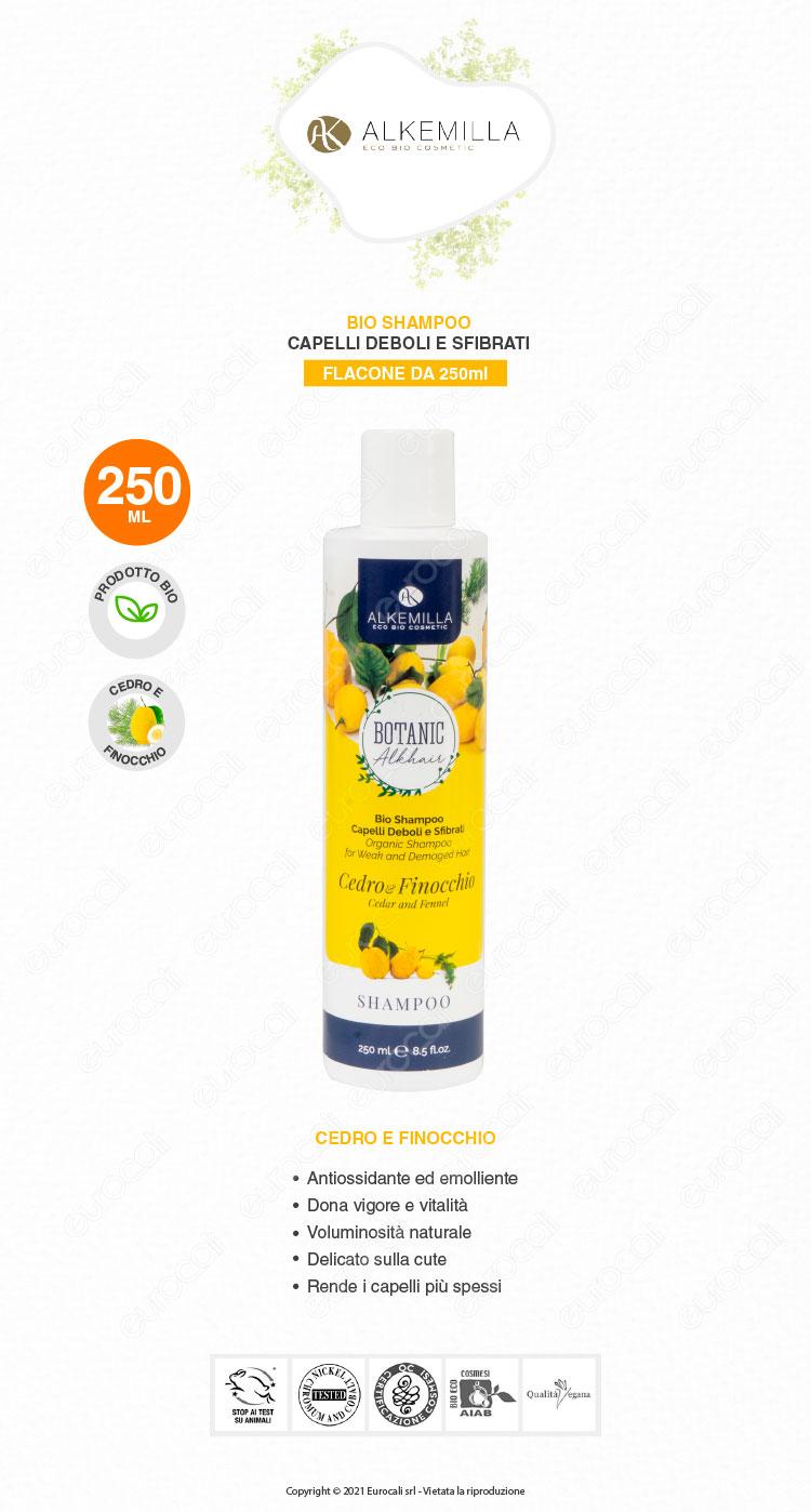 Alkemilla shampoo bio cedro e finocchio 250ml