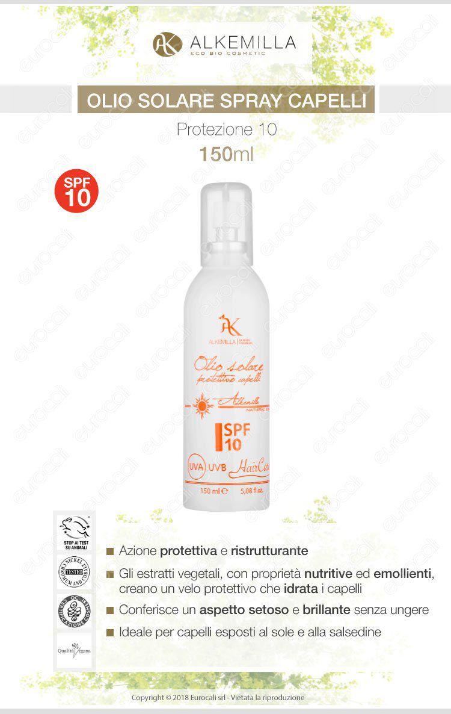 Alkemilla olio solare per capelli SPF 10