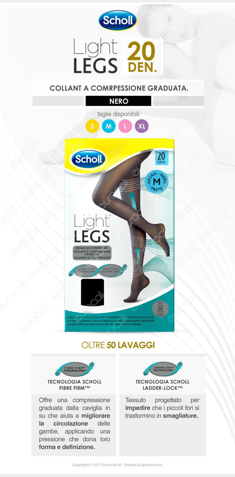 Scholl Light Legs Collant 20 den. Neri