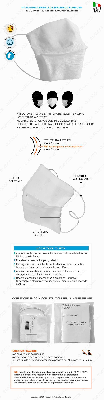 Mascherina igienica a 3 strati lavabile e riutilizzabile PRONTA CONSEGNA MADE IN ITALY