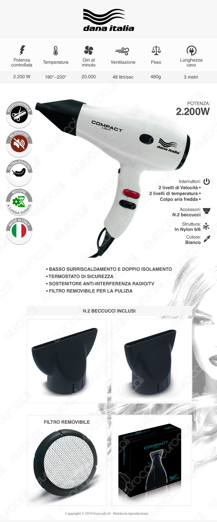 Dana Italia Compact Light Bianco - Asciugacapelli Professionale