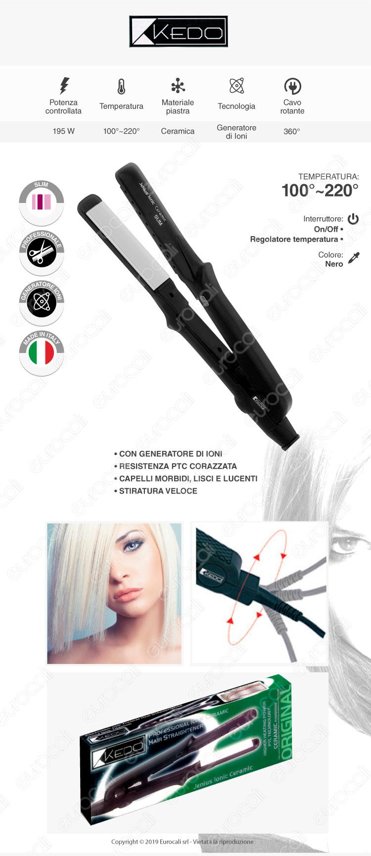 Kedo Jenius Ionic Ceramic Slim - Piastra per capelli professionale