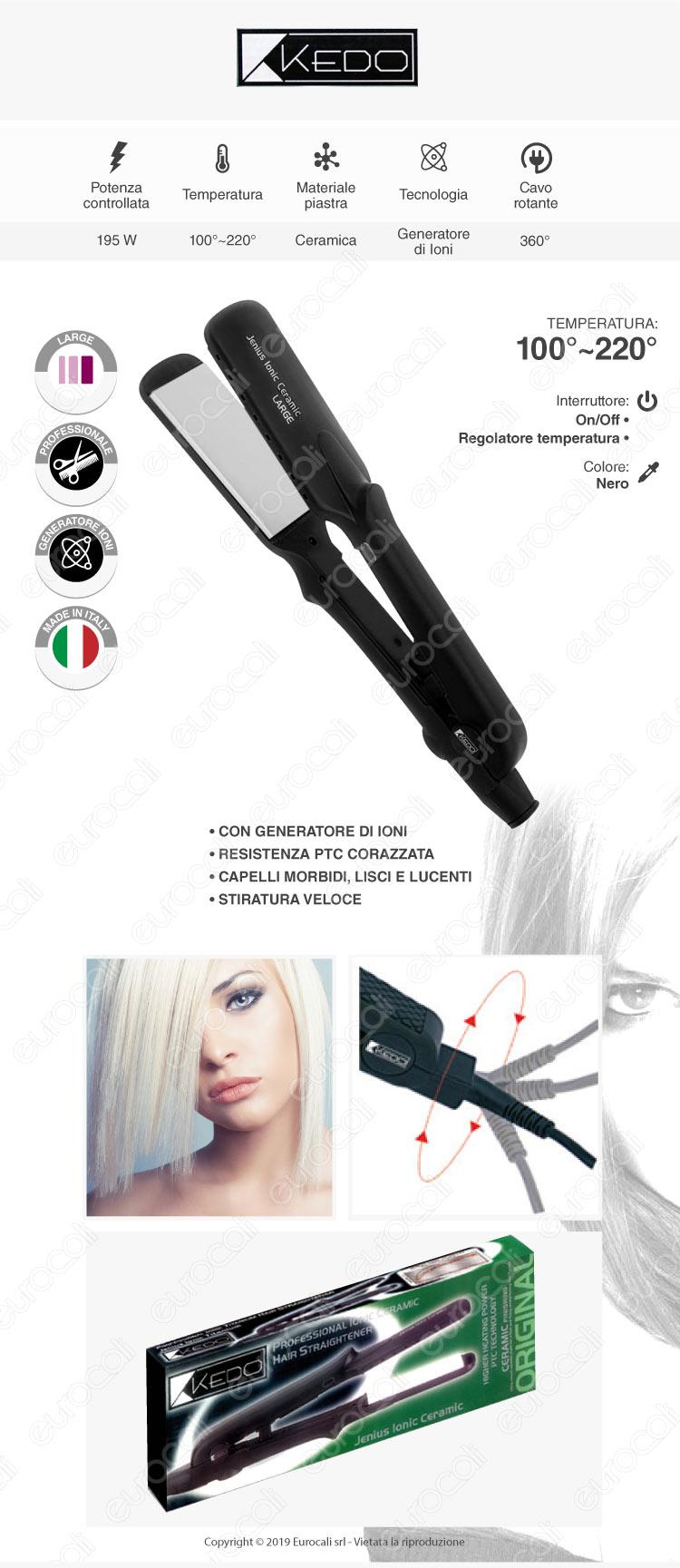 Kedo Jenius Ionic Ceramic Large - Piastra per capelli professionale