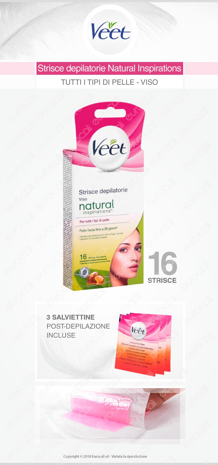 Veet strisce depilatorie viso natural inspirations