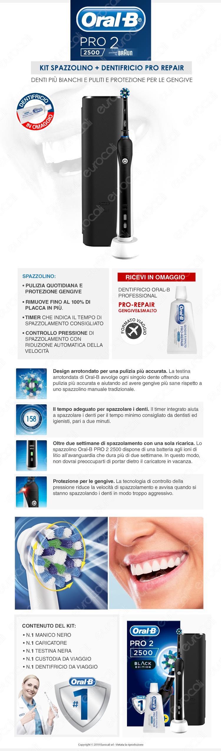 Oral-B kit igiene Spazzolino Elettrico pro 3000 idropulsore oxyjet + dentifricio oral b