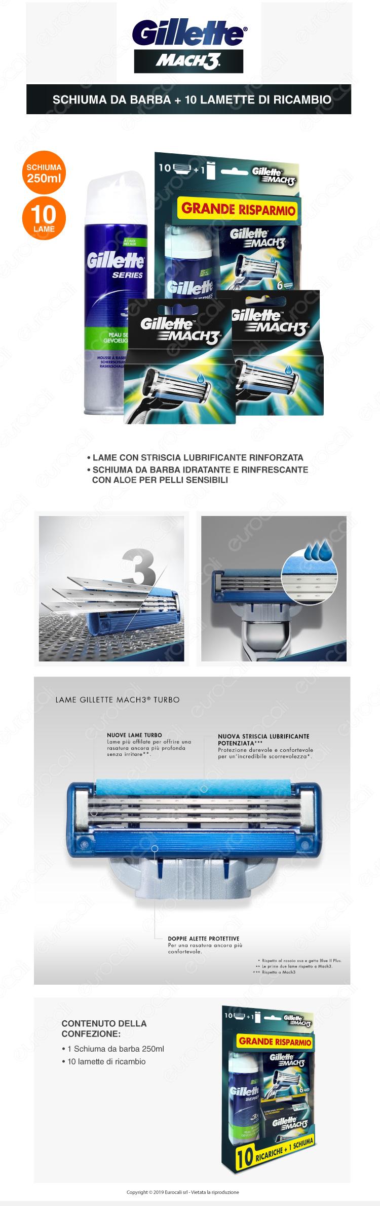 gillette mach3 maxi formato risparmio con 10 lamette e 1 schiuma da barba da 250ml