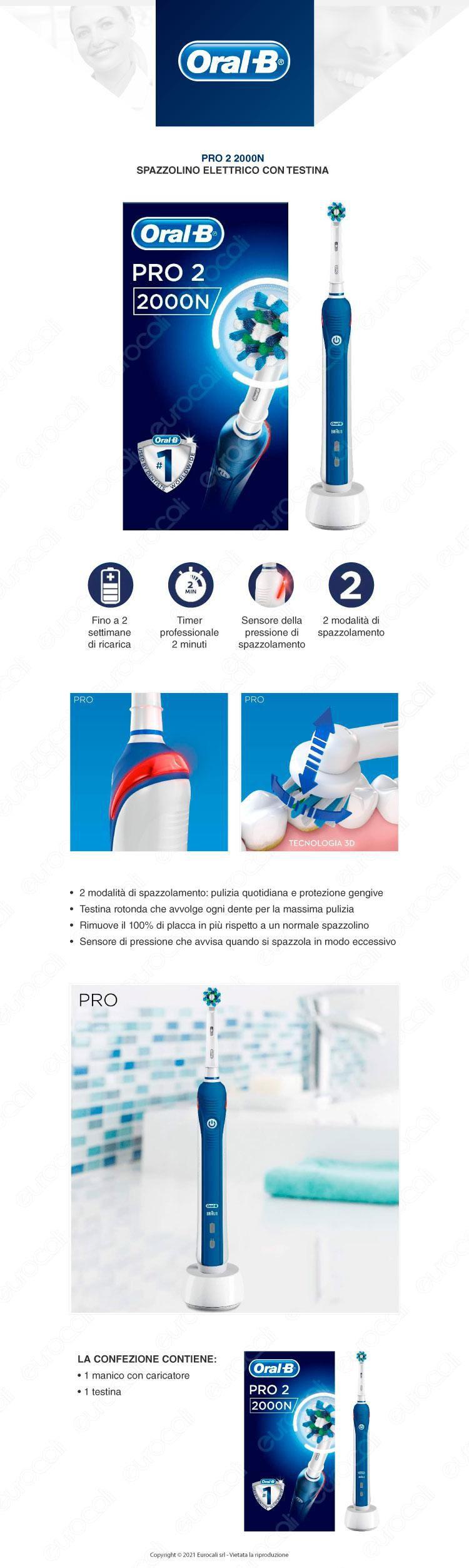 Oral-B Spazzolino Elettrico PRO2 2000 con testina sensi ultrathin