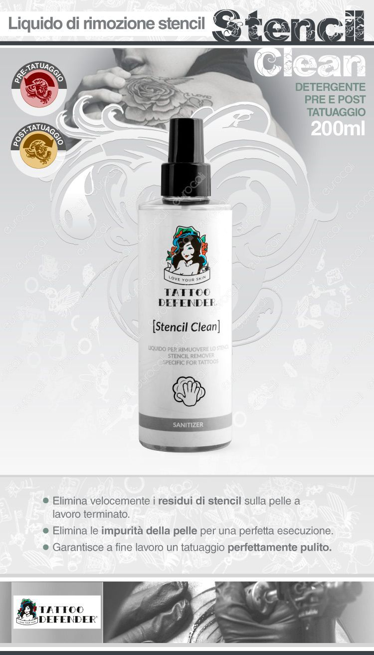 Tatoo defender stencil clean