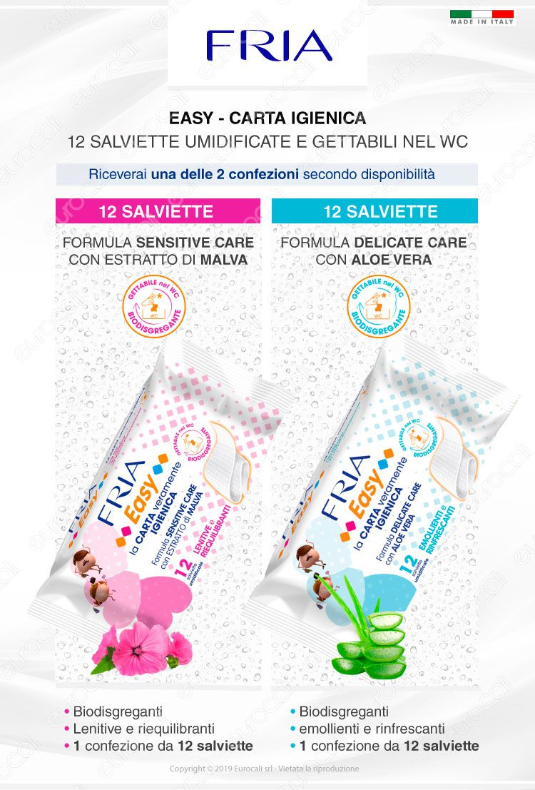 12 Salviettine Fria Umidificate Easy Pocket Carta Igienica