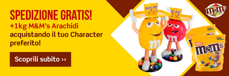 banner M&M's character espositore red e yellow