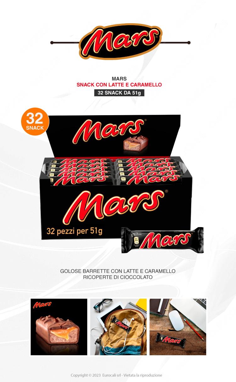 Mars Snack con Malto e Caramello Ricoperto di Cioccolata - Box con 32 Barrette da 51g