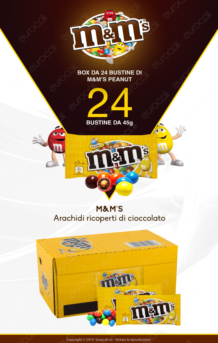 M&M's Peanut Confetti con Arachidi Ricoperte di Cioccolato - Box con 24 Bustine da 45g