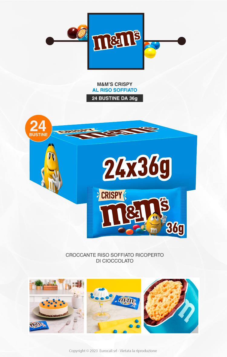 M&M's Crispy Confetti con Cereali Ricoperti di Cioccolato - Box con 24 Bustine da 45g