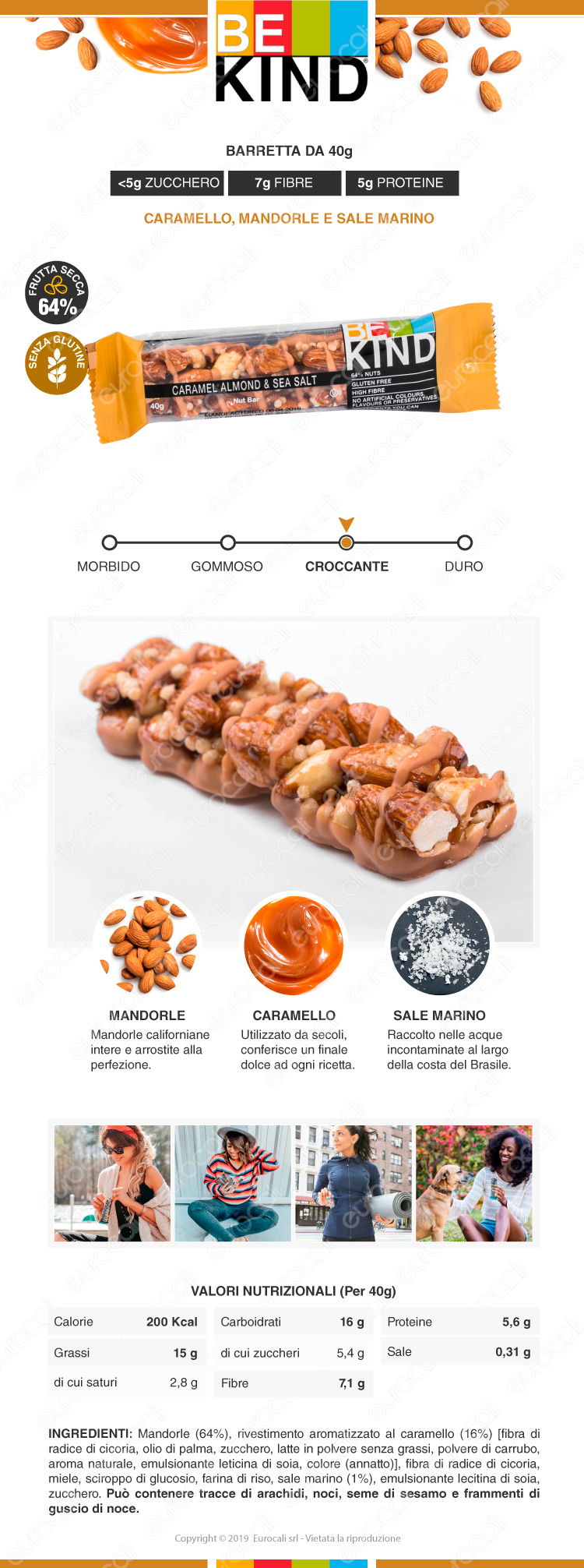 be kind barretta snack caramello mandorle e sale marino