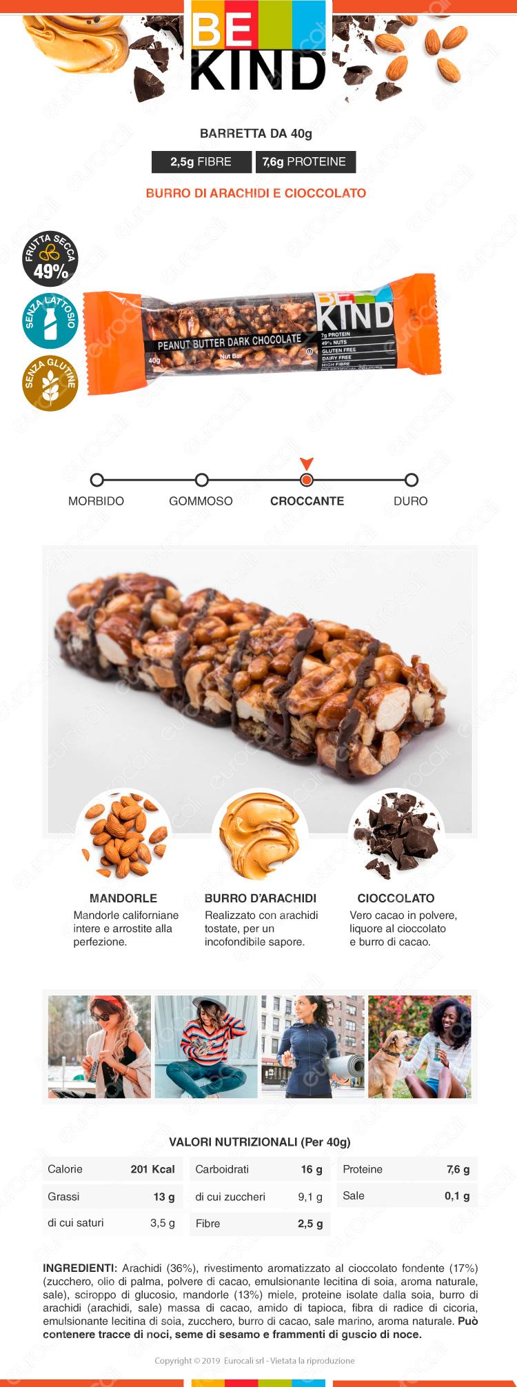 be kind barretta snack burro di arachidi e cioccolato fondente