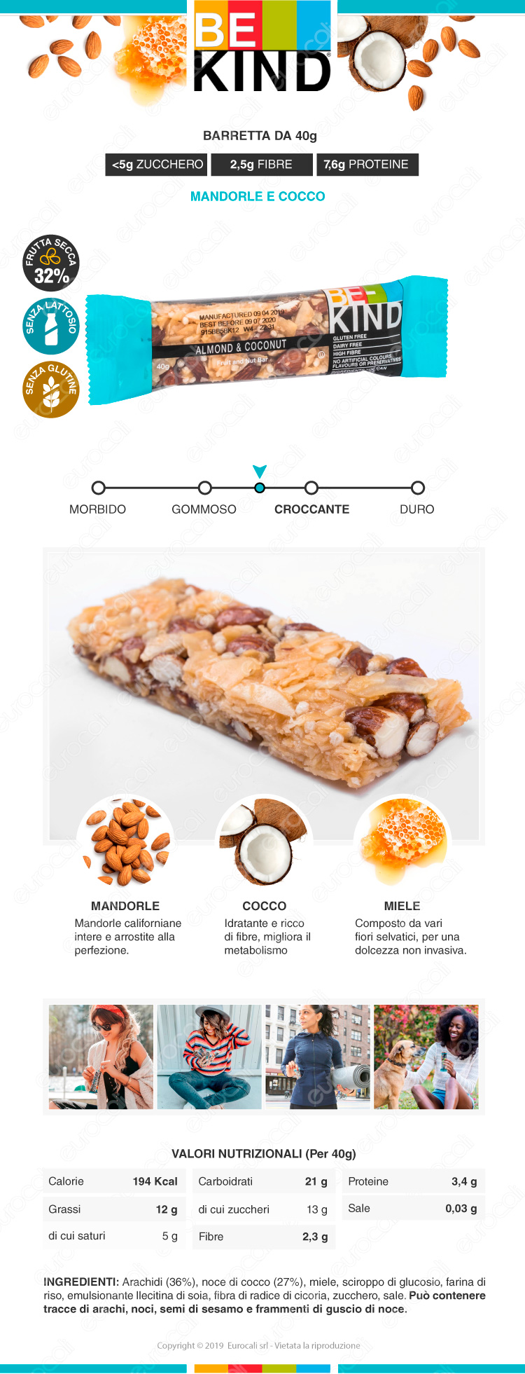 be kind barretta snack mandorle e cocco
