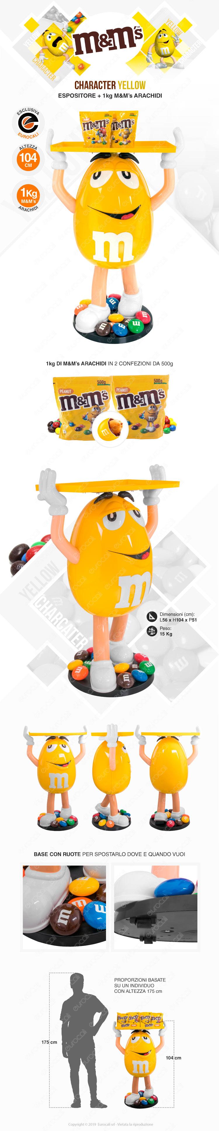 M&M's character yellow espositore da 104 con M&M's da 1 kg di arachidi