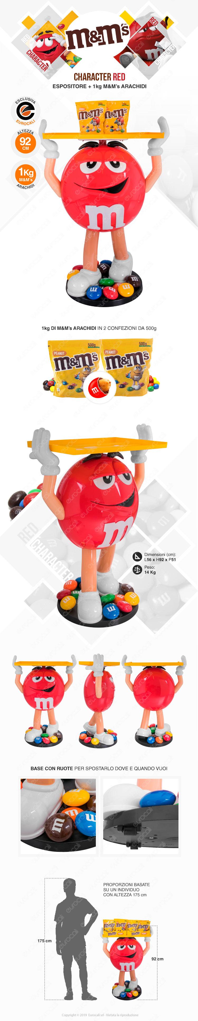 M&M's character red espositore da 92 con M&M's da 1 kg di arachidi