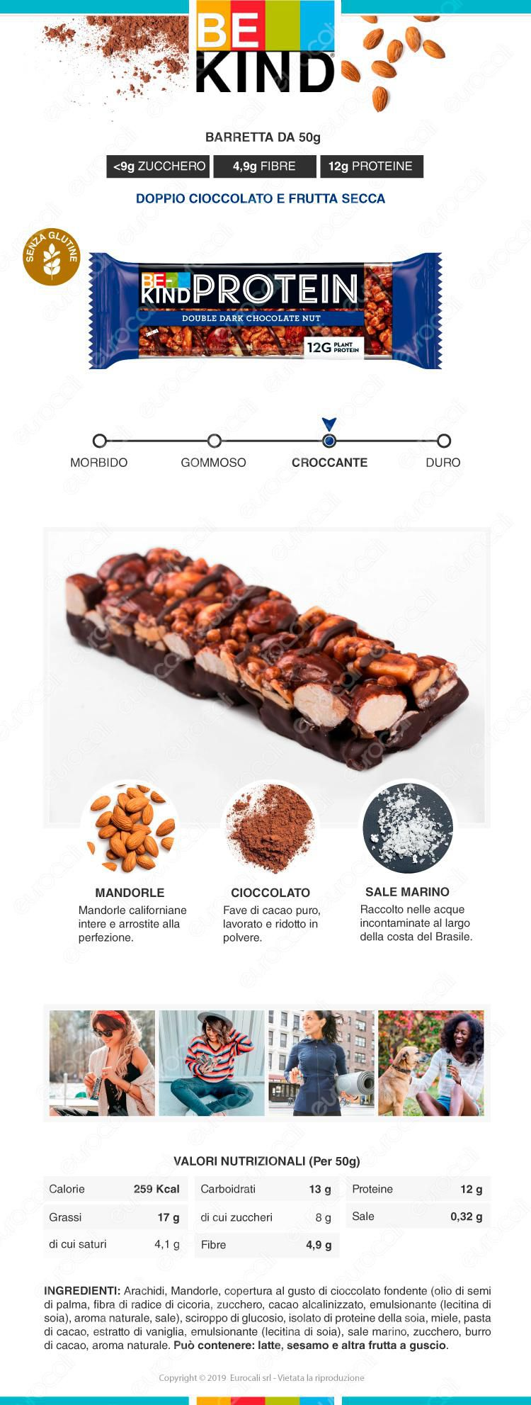 be kind PROTEIN barretta snack cioccolato fondente frutta secca e sale marino