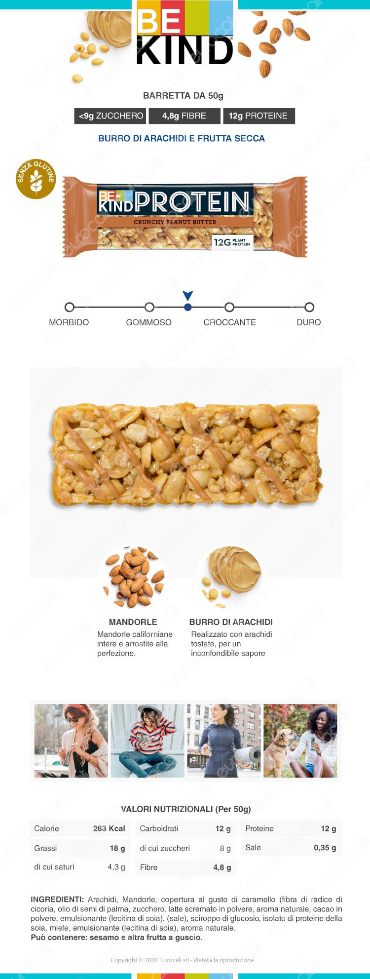 be kind protein barretta snack burro di arachidi e frutta secca