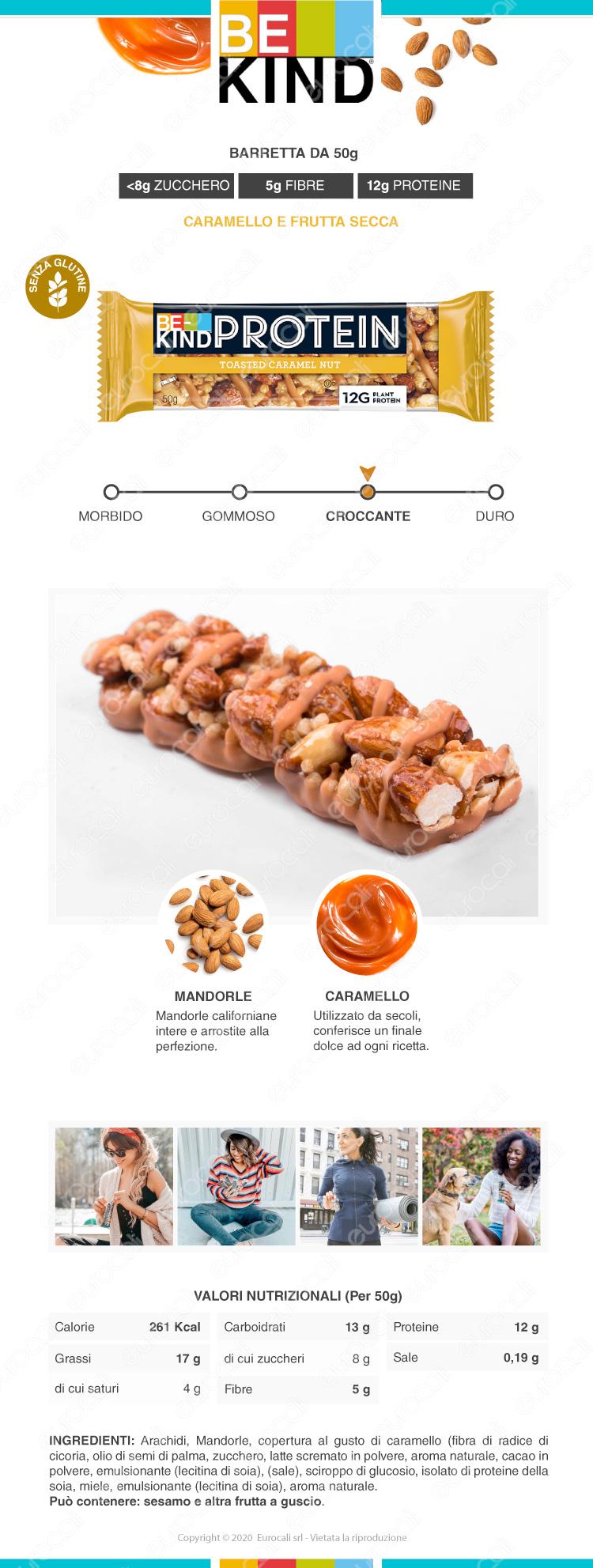 be kind PROTEIN barretta snack caramello E FRUTTA SECCA