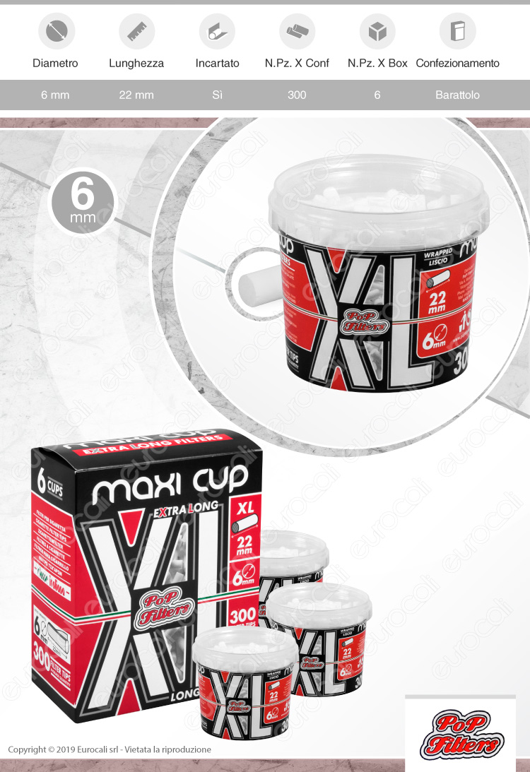Pop Filters Slim 6mm XL Extra Lunghi Lisci Maxi Cup - Box 6 Barattoli da 300 Filtri