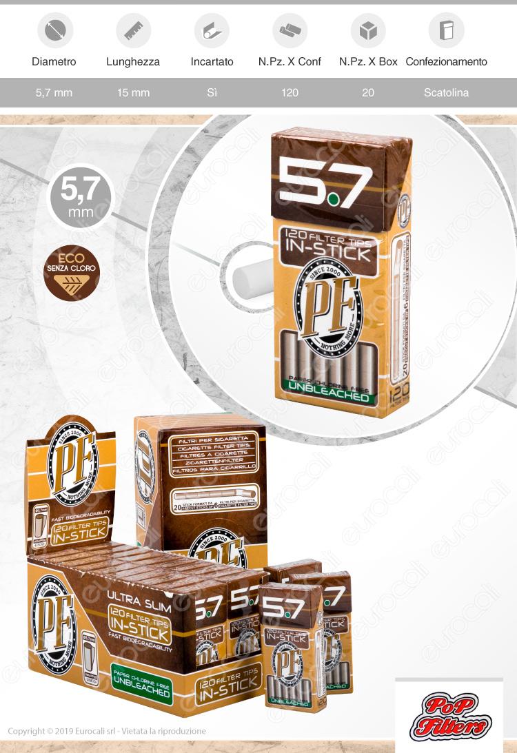 Pop Filters Ultra Slim 5,7mm Biodegradabili - Scatolina da 120 Filtri