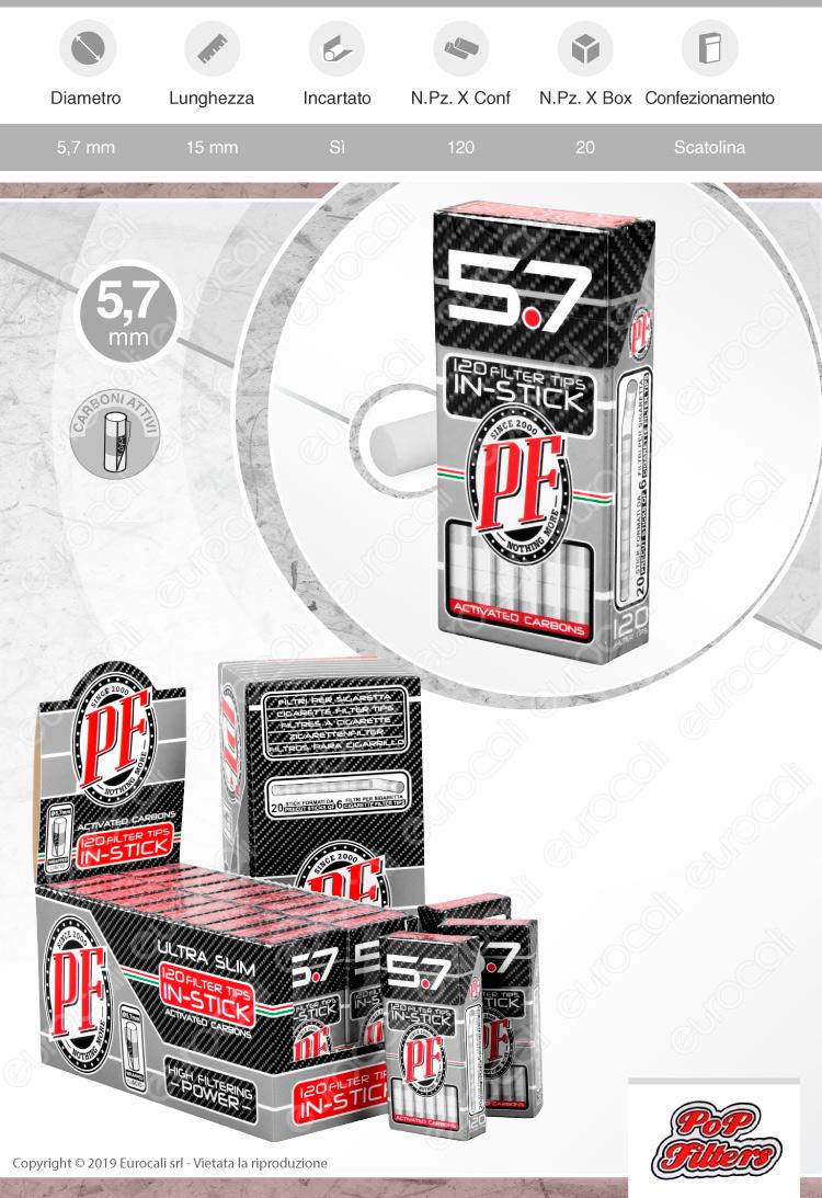 Pop Filters Ultra Slim Activated Carbon 5,7mm Carboni Attivi - Scatolina da 120 Filtri
