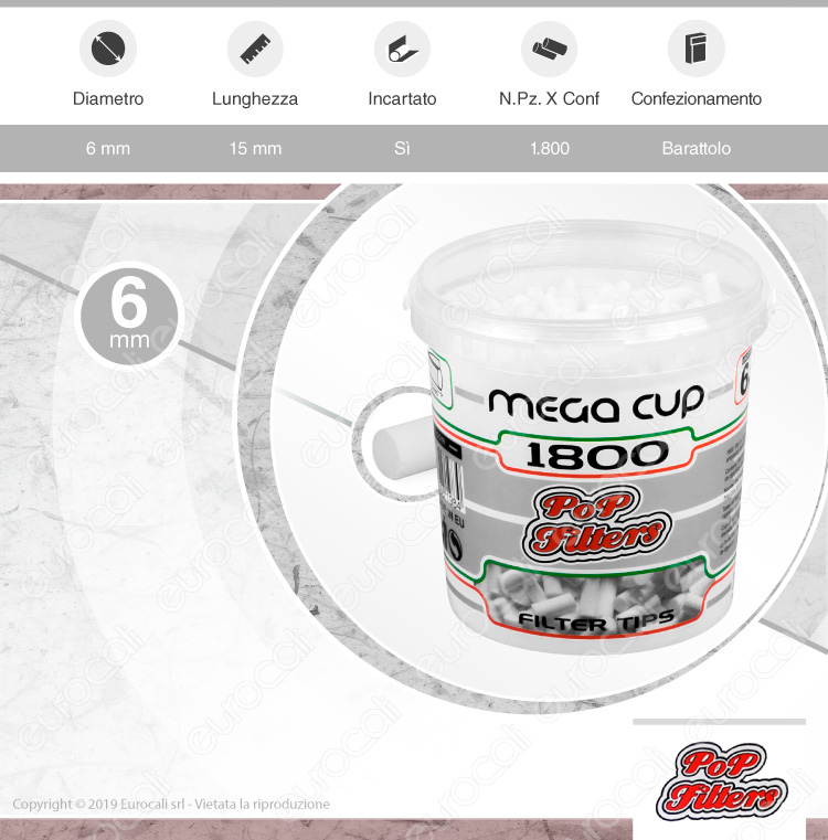 Pop Filters Slim 6mm Lisci Mega Cup - Barattolo da 1800 Filtri