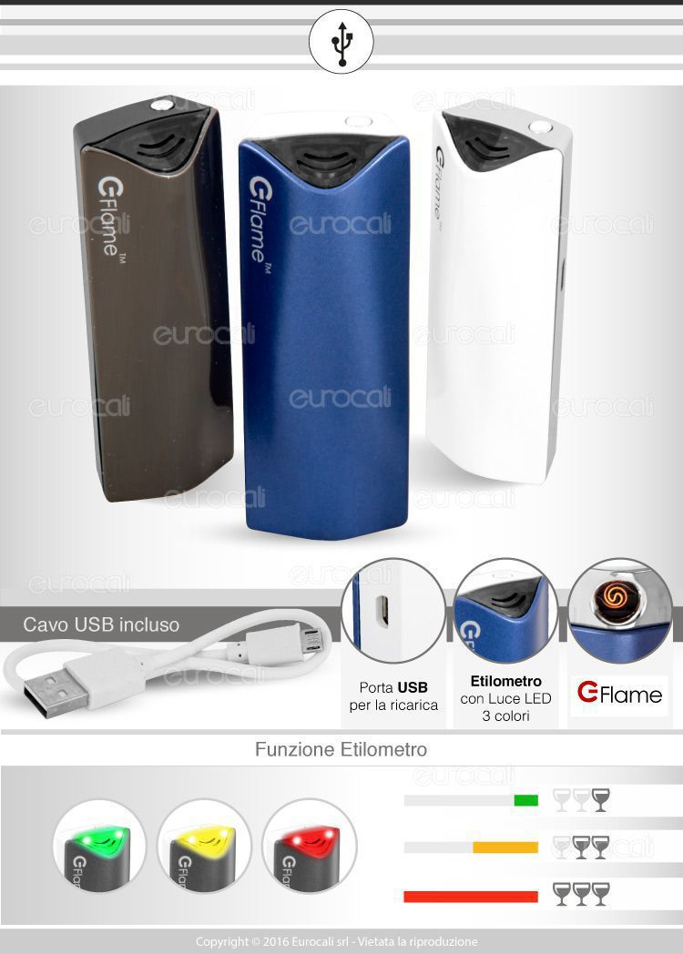 E-Flame accendinio usb con etilometro
