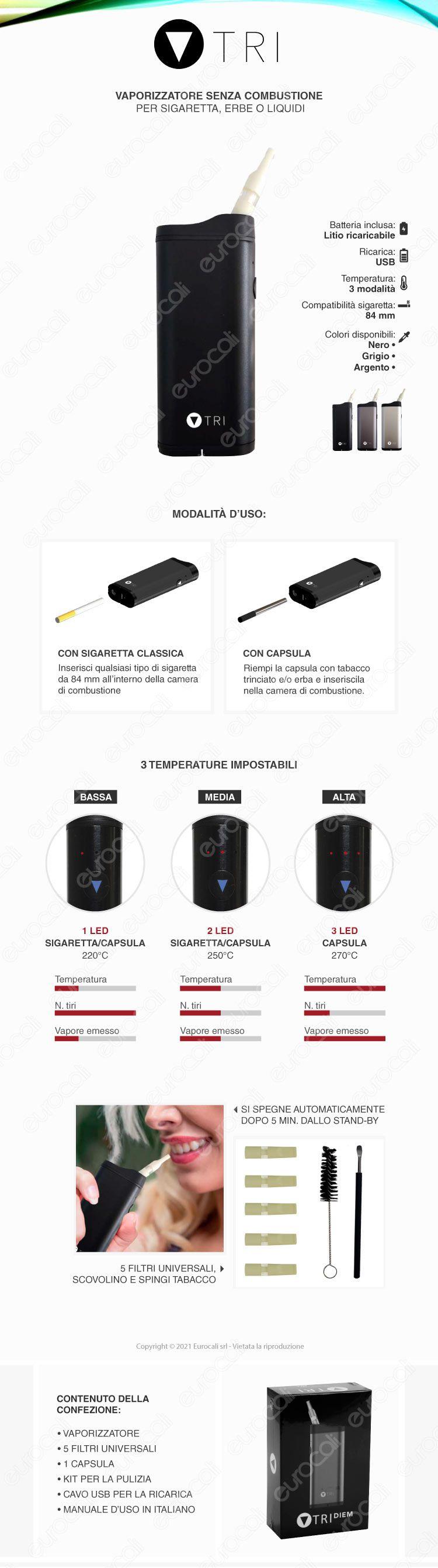 TRI-DIEM Vaporizzatore Portatile per Sigarette Tabacco e Erbe Aromatiche con Capsula