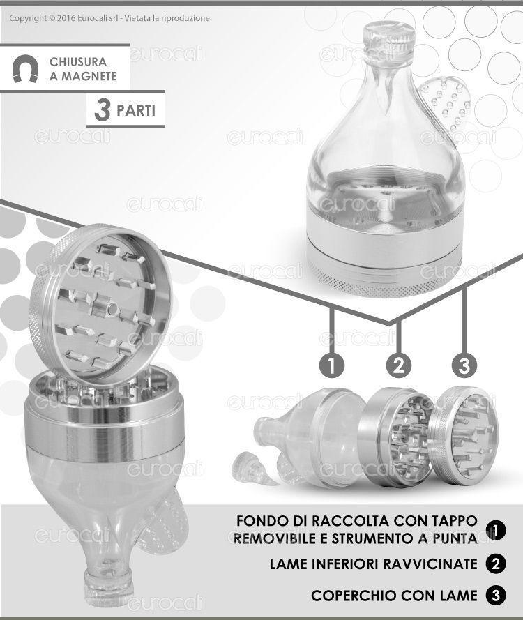 Grinder Tritatabacco in Metallo e Vetro 3 Parti