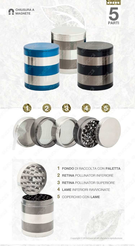 Grinder Tritatabacco in Metallo 5 Parti