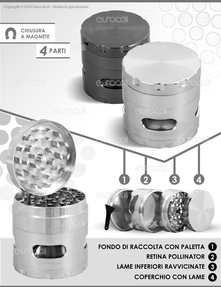 Grinder Tritatabacco in Metallo 55mm