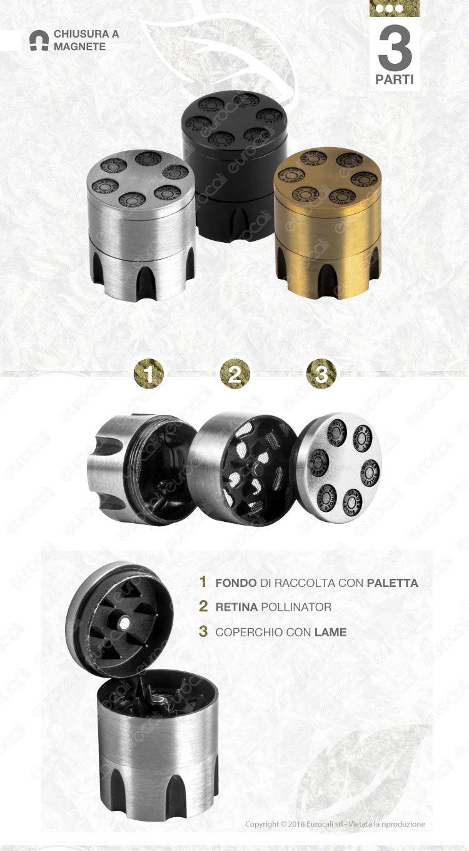 Grinder Tritatabacco in Metallo 3 Parti