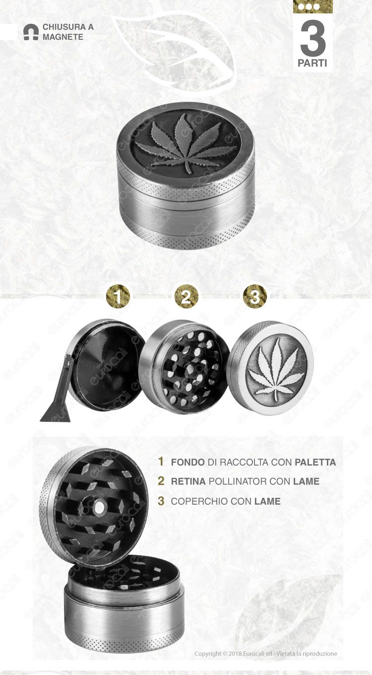 Champ Metal Leave Grinder Tritatabacco 3 Parti in Metallo