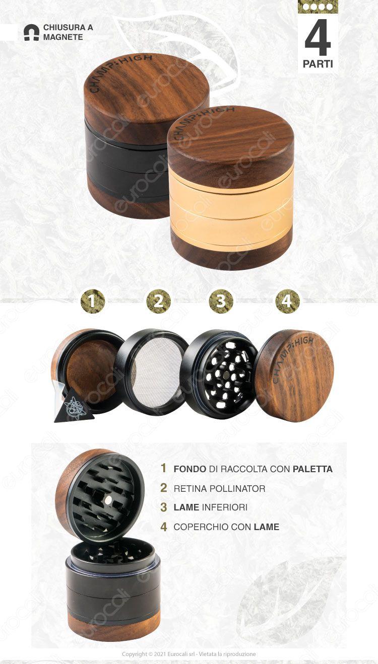 grinder legno metallo 4 parti