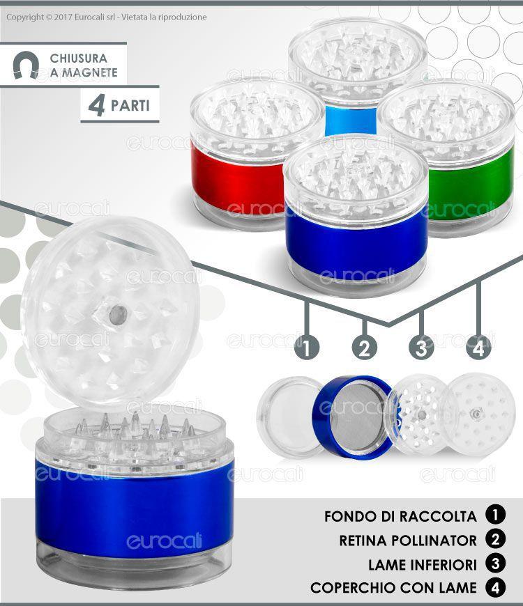 Grinder 4 parti in plastica e metallo