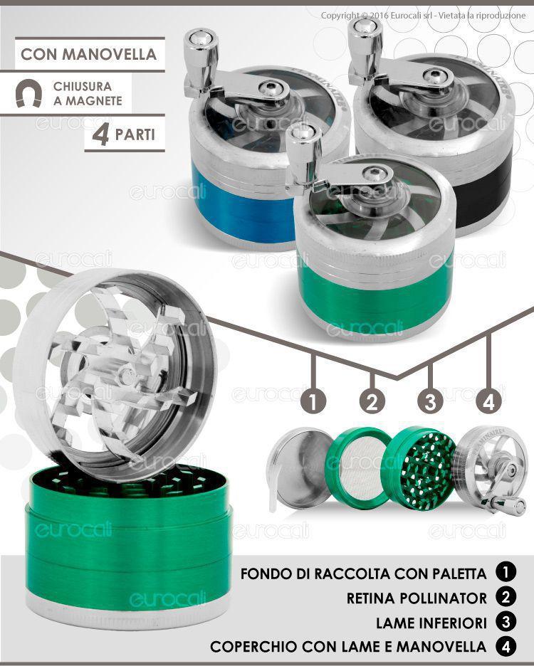 Grinder Tritatabacco in Metallo 50mm 4 Parti