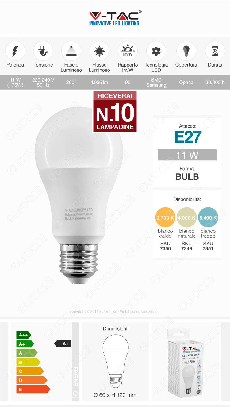 10 Lampadne LED V-Tac VT-2112 E27 11W Bulb A60 - Pack Risparmio