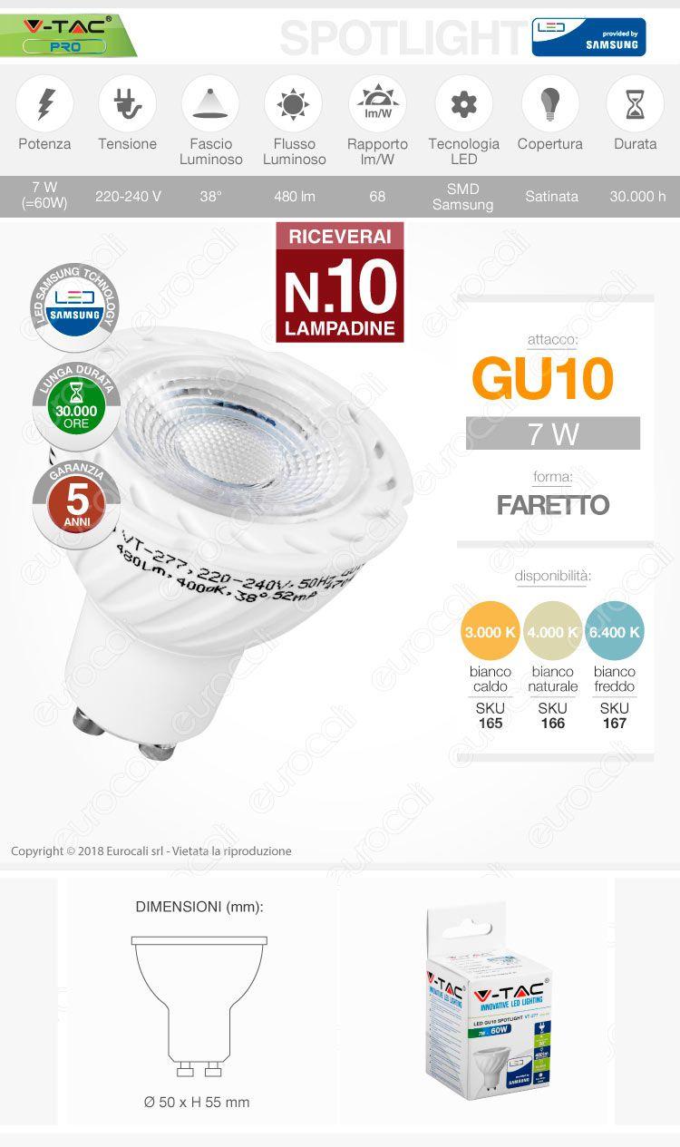 10 Lampadine LED V-Tac PRO VT-277 Lampadina LED GU10 7W Faretto Spotlight Chip Samsung 38° - Pack Risparmio