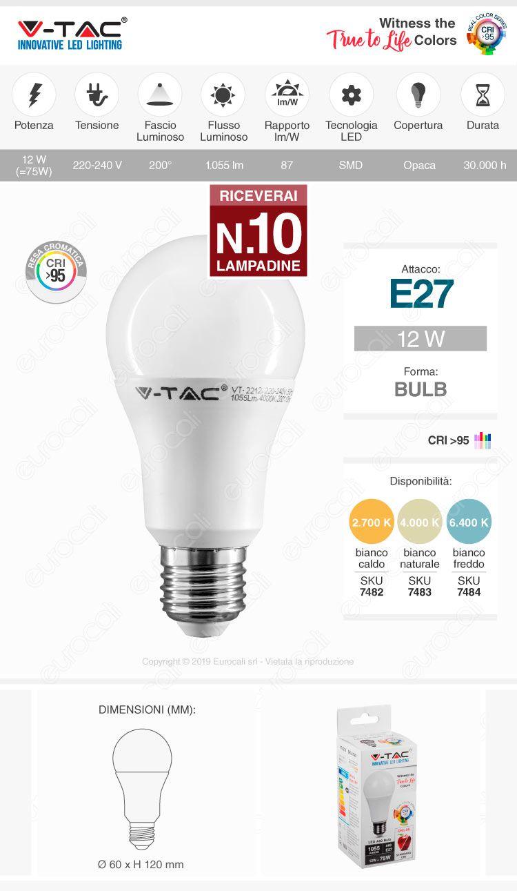 VT-2212 V-Tac Lampadina LED E27 12W Bullb A60 CRI ≥95